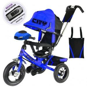 """Трехколесный велосипед   City Trike с надувными колесами 10 и 8""""   и фарой"""