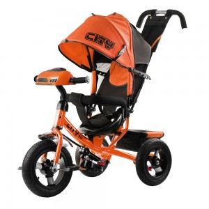 Трехколесный велосипед   City Trike с надувными колесами 10 и 12   и фарой