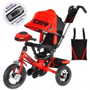Трехколесный велосипед   City Trike с надувными колесами 10 и 8   и фарой
